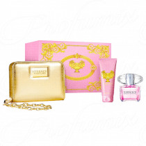 VERSACE BRIGHT CRYSTAL GIFT SET 90ML SPRAY EAU DE TOILETTE + LATTE CORPO PROFUMATO 100ML + POCHETTE