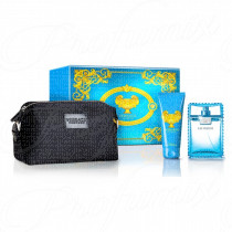 VERSACE MAN EAU FRAICHE GIFT SET 100ML SPRAY EAU DE TOILETTE + GEL BAGNO DOCCIA 100ML + TROUSSE